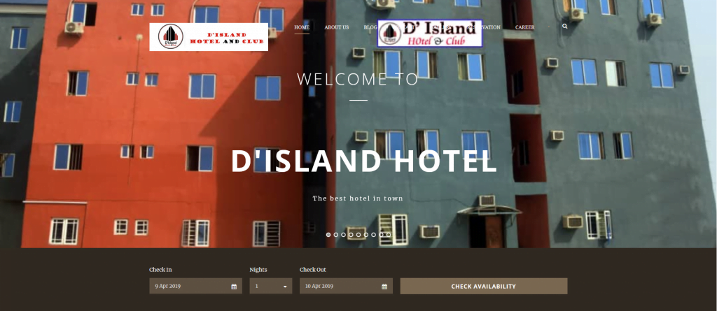 Hotel website made for a client